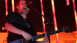 Radiohead frontman Thom Yorke in action