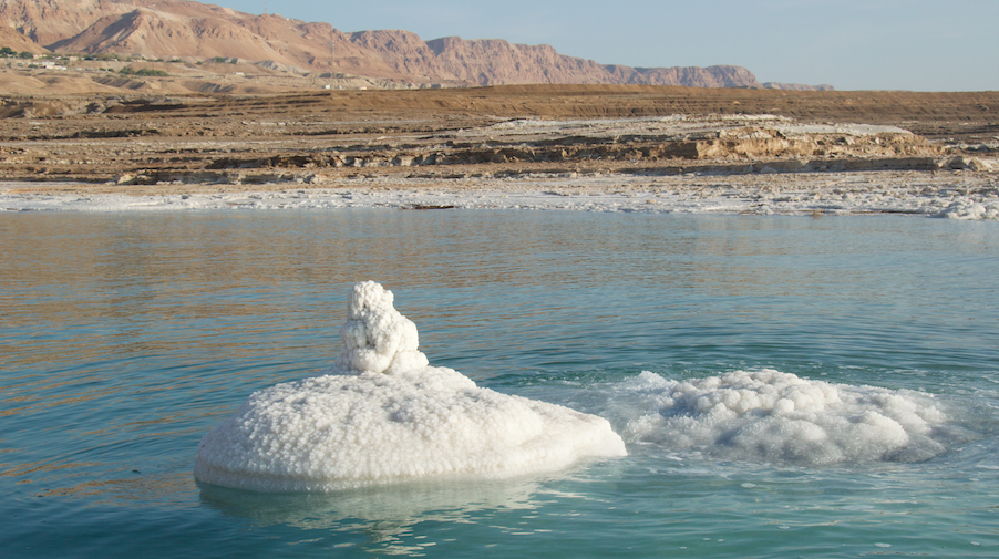 The salt formation at the launch site on the Dead Sea pictured on April 15, 2016, on the first trip Noam Bedein took with Jaky Ben Zaken. (courtesy Noam Bedein)