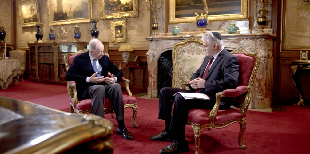 Lord Rothschild being interviewed by ex-ambassador Daniel Taub