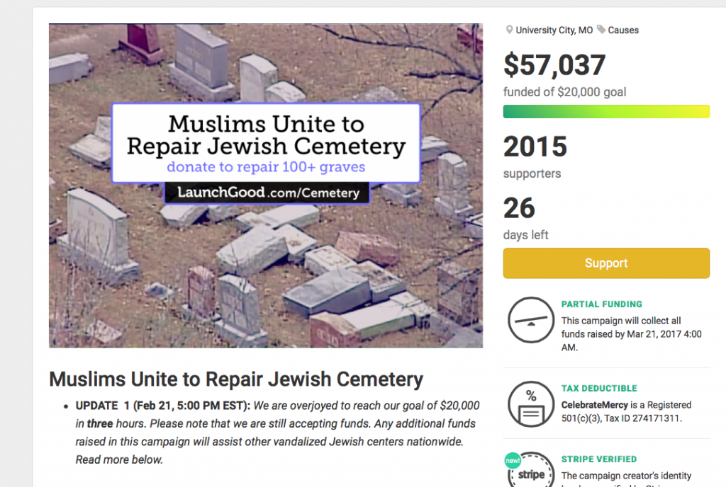 Muslim American-led Campaign Raises Thousands for Vandalized Jewish Cemetery
