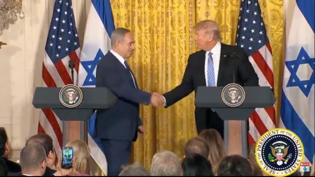 US President Trump and Prime Minister Netanyahu speak at joint news conference in the White House February 15, 2017, (Screen capture: YouTube)