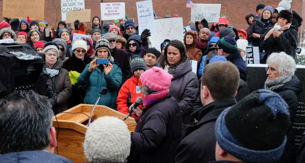 Rabbi Claudia Kreiman speaks at the New England Holocaust Memorial in Boston, Massachusetts, during a rally in support of refugees on February 12, 2017 (Kaila Fleisig)