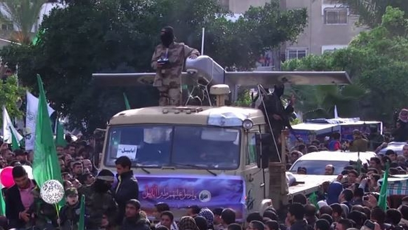 A Hamas drone paraded at a celebration marking the 27th anniversary of the founding of the terror group in 2014. (YouTube/RuptlyTV)