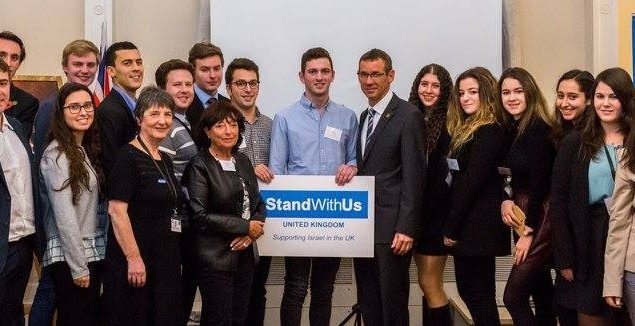 A group photo with a StandWithUs banner