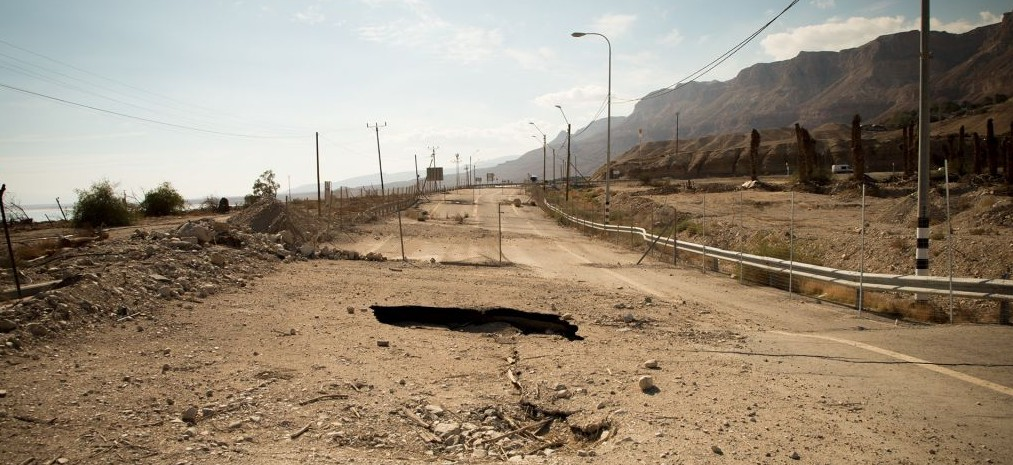 In 2015, sinkholes forced the closure of this part of Highway 90, pictured here on January 6, 2016. Now drivers must take a winding bypass which is very close to the Ein Gedi nature reserve. (Luke Tress/Times of Israel)