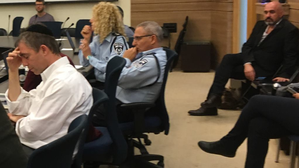 Police representatives attend a Knesset State Control meeting on binary options fraud, February 28, 2017 (Simona Weinglass/Times of Israel)