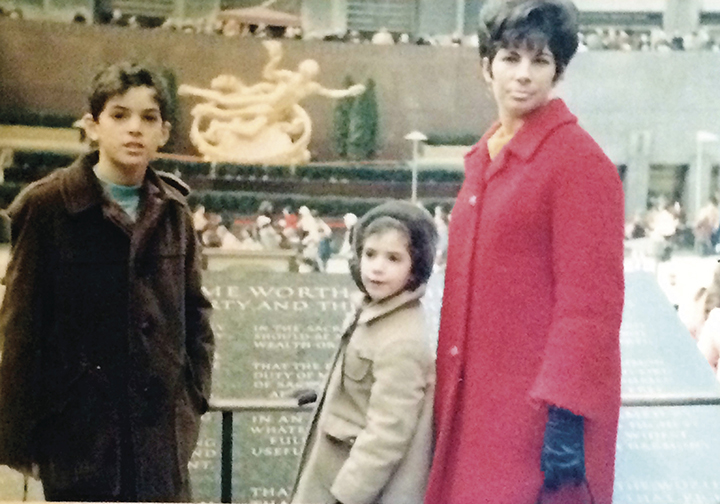Esther and her children, Elliot and Iris, at Rockefeller Center on a day in early spring.