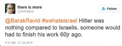 A tweet by Rachid el Hajoui during Israel's 2014 Operation Protective Edge in Gaza. (Screen capture)