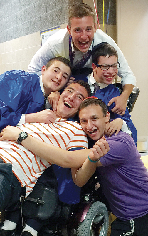 Friends graduate — From the top, counterclockwise, Moshe Stuart, Yitzi Rothschild, Jonathan Seidel, Yoni Greenberg, and Jacob Adler. All graduated from Bergen County day schools this spring, including Jacob, a Sinai student. (Courtesy Sinai Schools)