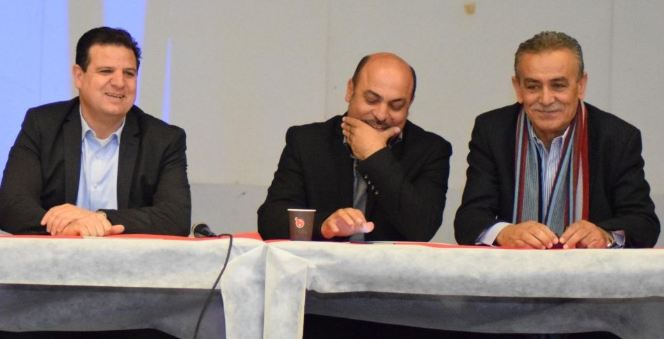 Joint (Arab) List MKs Ayman Odeh (left), Masud Ghnaim (center) and Jamal Zahalqsa (right) attend a conference on volunteerism in Kfar Qassem on March 4, 2017. (Courtesy)