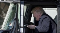 US President Donald Trump sits in the driver's seat of a semi-truck as he welcomes truckers and CEOs to the White House in Washington, DC, March 23, 2017, to discuss healthcare. (AFP PHOTO / JIM WATSON)