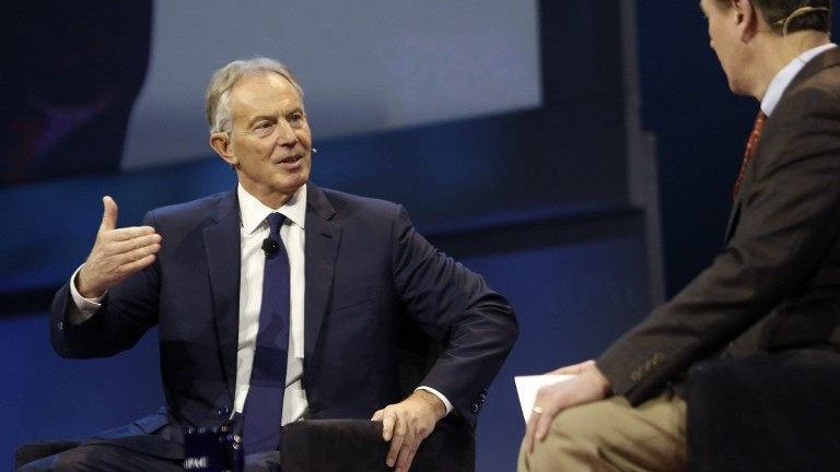 Former British prime minister Tony Blair speaks at the American Israel Public Affairs Committee (AIPAC) Policy Conference in Washington, on March 26, 2017. (AFP Photo/Andrew Biraj)