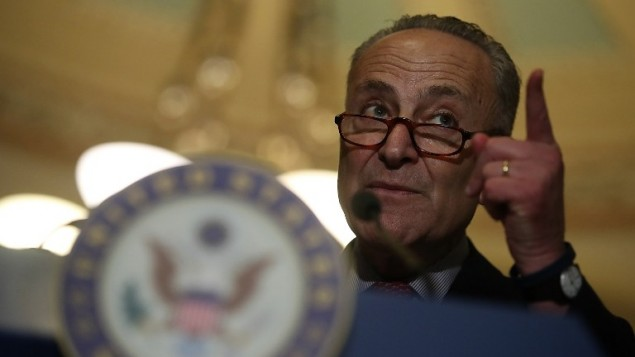 Senate Minority Leader Charles Schumer (D-NY) speaks during a news conference on Capitol Hill on March 14, 2017. (Justin Sullivan/Getty Images/AFP)