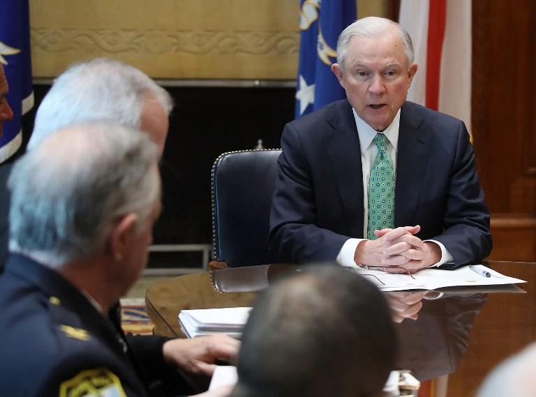US Attorney General Jeff Sessions meets with Police Chiefs from major cities of the Chiefs of Police Association, at the Justice Department March 16, 2016 in Washington, DC. (Mark Wilson/Getty Images/AFP)