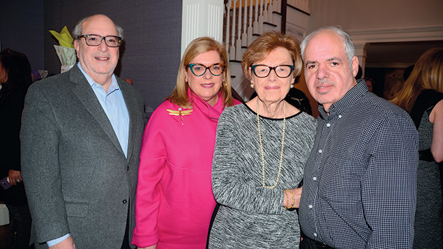 Claire Roodman, second from right, with her son-in-law and daughter, Joe and Sheryl Eichenholz, and her son, David Roodman. (JCCOTP)