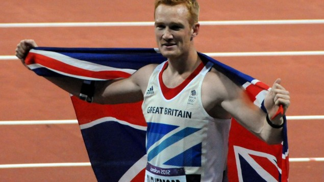 Rutherford after winning the long jump at the 2012 Olympics