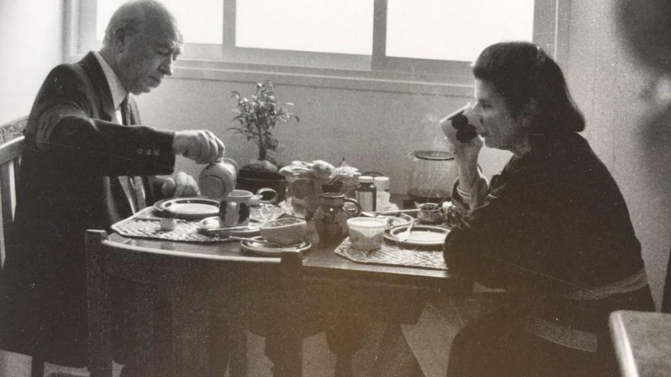 Prime Minister Yitzhak Rabin and his wife Leah having breakfast in their flat in 1994