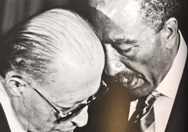 Menachem Begin and Anwar Sadat in Aswan in 1980