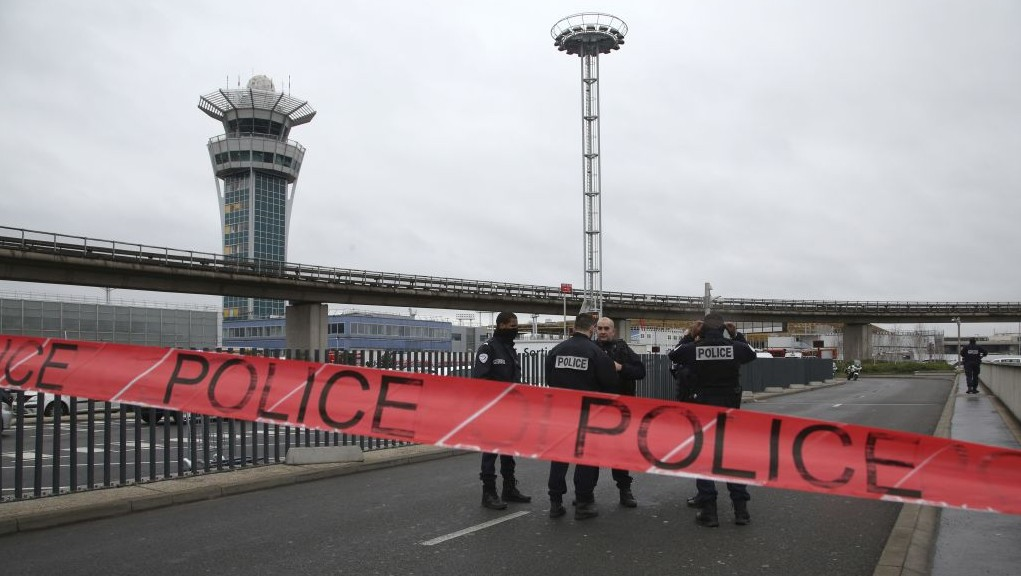 Police officers cordon off the access to the Orly airport, south of Paris, Saturday, March, 18, 2017. (AP Photo/Thibault Camus)