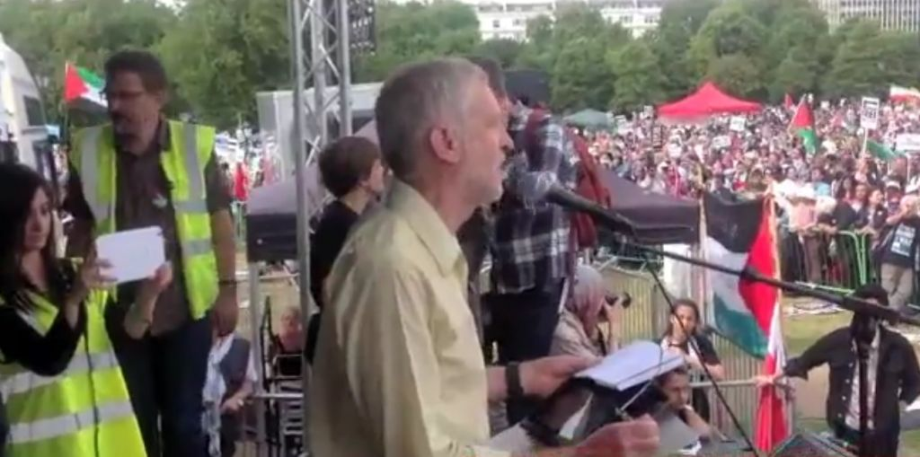 Jeremy Corbyn Speaks at a rally for Gaza in Hyde Park, London August 8, 2014. (Screen capture: YouTube)
