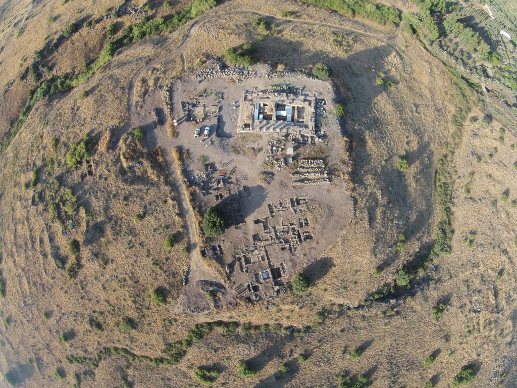 An aerial view of the ancient Roman site of Omrit, north of the Hula Valley. (Courtesy of Daniel Schowalter)