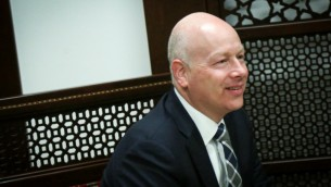 Jason Greenblatt, Donald Trump's special representative for international negotiations, in the West Bank city of Ramallah on March 14, 2017 (Flash90)