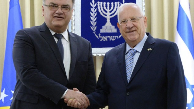 President of Bosnia and Herzegovina Dr. Mladen Ivanić (left) with President Reuven Rivlin (Courtesy GPO)