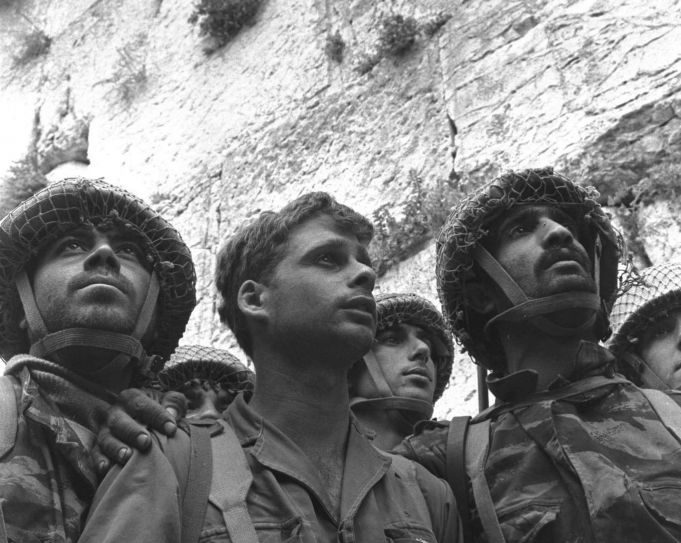 Israeli soldiers pray at the Western Wall June 7,1967