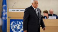 Palestinian President Mahmud Abbas arrives to delivers a speech during the United Nations Human Rights Council on February 27, 2017.