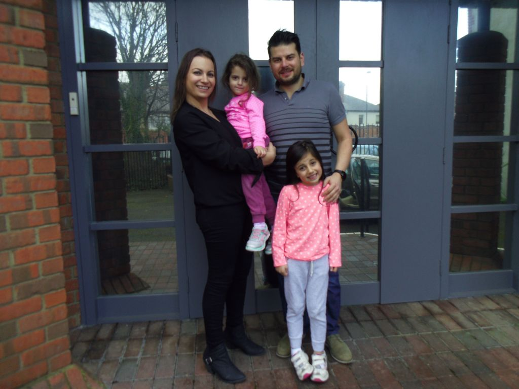Native Dubliner Jenni Harrison with her husband Simon, and daughters Katie and Amy. (Michael Riordan/Times of Israel)