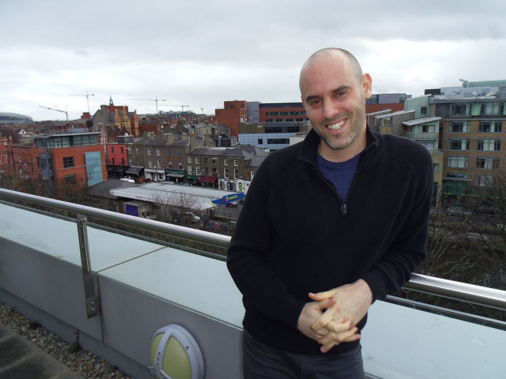 Dublin-based Israeli lawyer Mattan Lass followed his partner to Ireland for a career move, and now has a Hebrew desk in his law office to suit the growing Israeli expat community. (Michael Riordan/Times of Israel)
