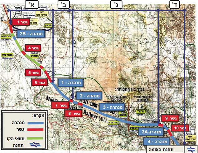 A schematic of the new high-speed line between Jerusalem and Tel Aviv. Blue are tunnels; red are bridges. (Israel Railways)
