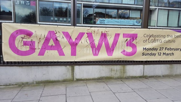 JW3 poster advertising 'GayW3' vandalised in March 2017