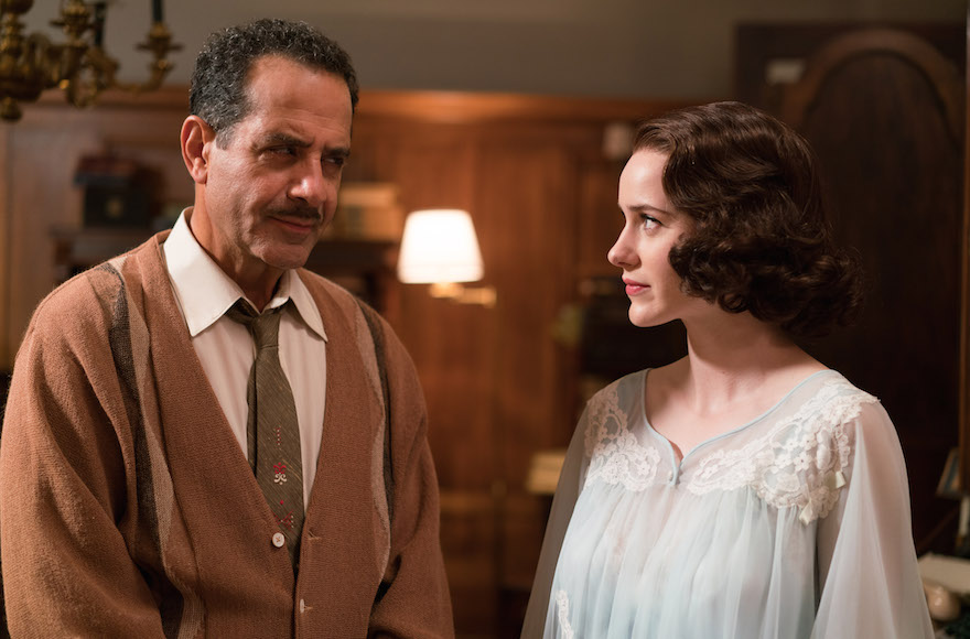Midge with her father Abe Weinberg, played by Tony Shalhoub. (Amazon Studios)
