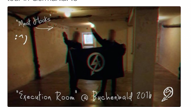 National Action's tweet of two members doing the salute in Buchenwald