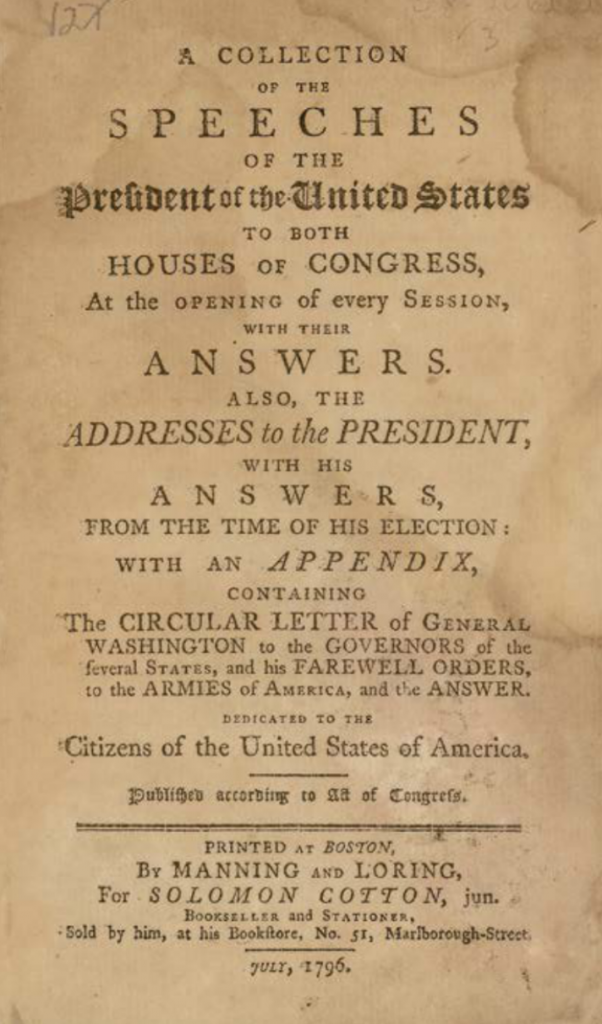 "The title page of George Washington's 1796 ""Collection of the Speeches of the President of the United States... Addresses to the President, with His Answers."" (courtesy of Kestenbaum & Co.)"