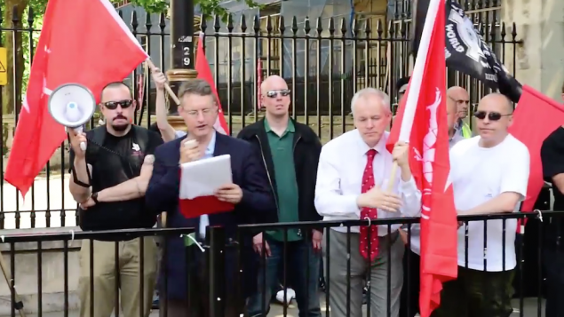 A far right extremist addressing a neo-Nazi rally in Whitehall