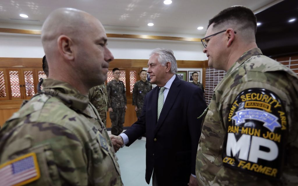 US Secretary of State Rex Tillerson, center, meets with UD and South Korea soldiers before the lunch meeting at Camp Bonifas, Korea, Friday, March 17, 2017. (Lee Jin-man/AP)