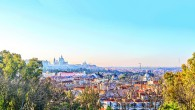 Sunrise panorama of Madrid with Royal Palace and  Almudena Cathe
