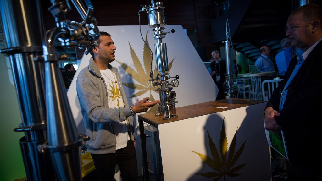 The CannaTech conference brought together groups doing research, working with patients and offering growing systems. March 20, 2017. (Miriam Alster/Flash90)