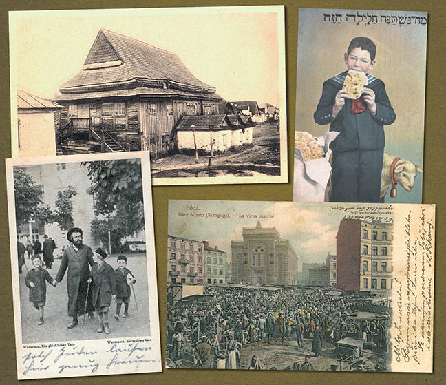 Postcards show synagogues in eastern Europe; most of them were demolished in the Holocaust. They also include scenes from Jewish life.