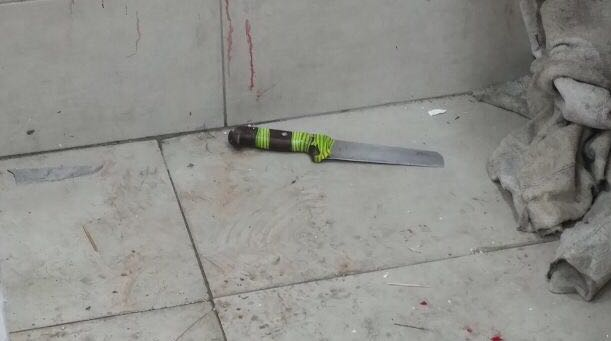A large knife used in an attack on two Border Police officers, who were moderately wounded, in the Old City of Jerusalem on March 13, 2017. (Israel Police)