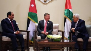 On the sidelines of the 28th Arab League Summit on March 29, 2017, Palestinian Authority President Mahmoud Abbas meets with King Abdullah II of Jordan and Egyptian President Abdel-Fattah el-Siss. (Wafa/Thaer Ghnaim)