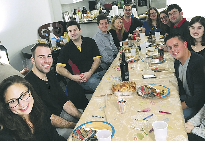 At Moishe House in Hoboken, young Jews share a Friendsgiving meal just before Thanksgiving.