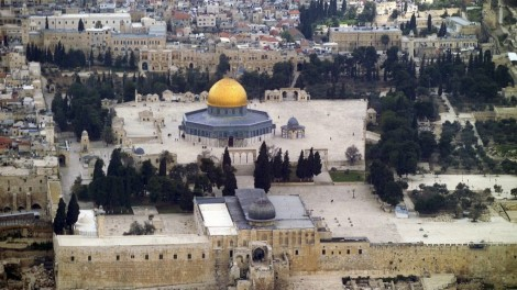 An aerial view of the Temple Mount in the Old City of Jerusalem