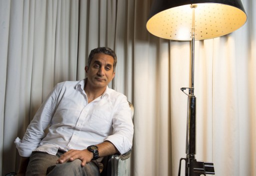 Egyptian Comedian Bassem Youssef poses at the SLS Hotel on April 6, 2017, in Los Angeles, California. (AFP/Valerie Macon)