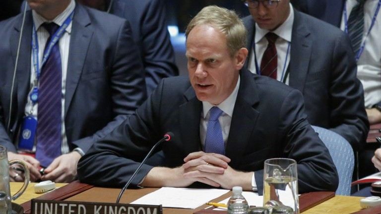 UK Ambassador to the United Nations Matthew Rycroft speaks during a UN Security Council meeting on April 12, 2017 at UN Headquarters in New York. (AFP Photo/Kena Betancur)