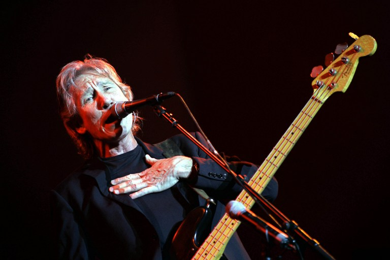 Roger Waters, British rock legend and co-founder of the group Pink Floyd, performs during a concert in Neve Shalom, 30 kms from Jerusalem in June 22, 2006. (AFP PHOTO / DAVID FURST)