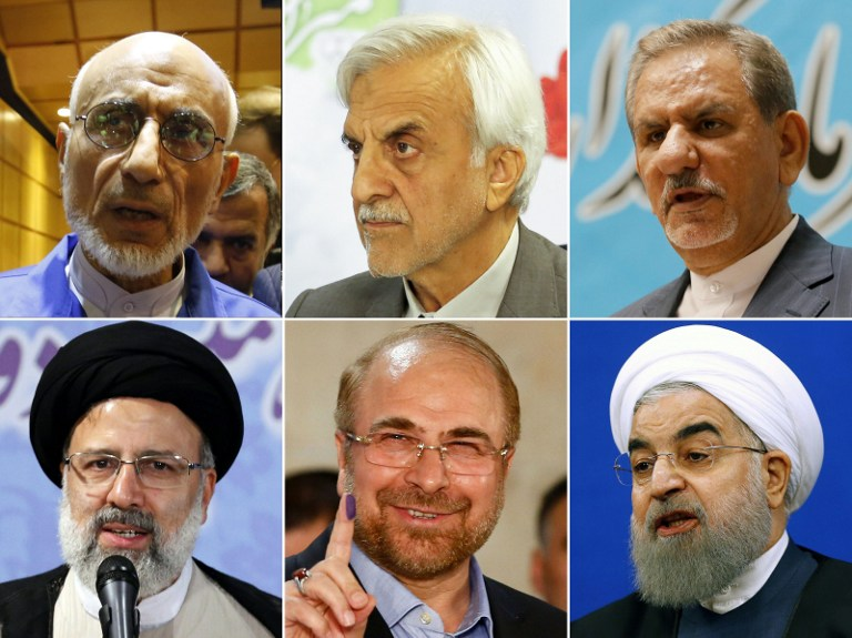 The contenders for Iran's upcoming presidential elections: (top L-R) Head of the Islamic Coalition Party's Central Council and former Minister of Culture, Mostafa Mirsalim; former Iranian minister Mostafa Hashemitaba; Iran's first Vice-President, Eshaq Jahangiri; (bottom L-R) Iranian cleric and head of the Imam Reza charitable foundation, Ebrahim Raisi; Mohammad Bagher Ghalibaf, Mayor of Tehran, and Iranian President Hassan Rouhani. (AFP PHOTO / ATTA KENARE)