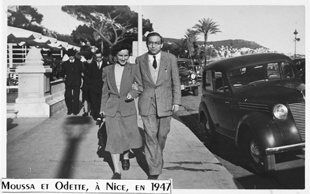 Syrian-born Moussa Abadi and Odette Rosenstock Abadi walk in Nice after the war; during the war, the two organized a network that saved 527 children.